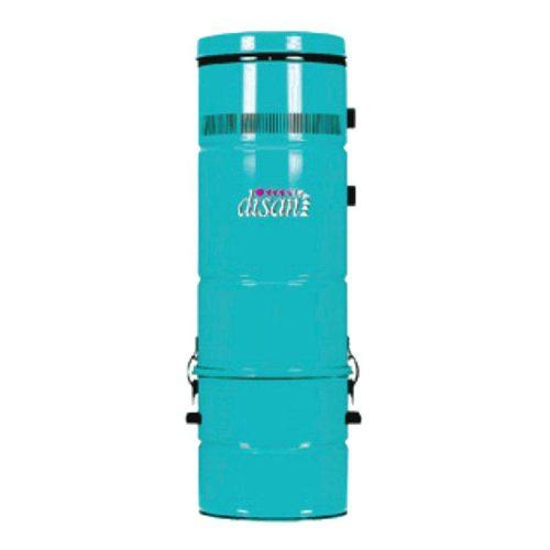 Disan Zentralsauggerät in frischer Türkisfarbe. Die Sauggerät hat eine schlanke Zylinderform.