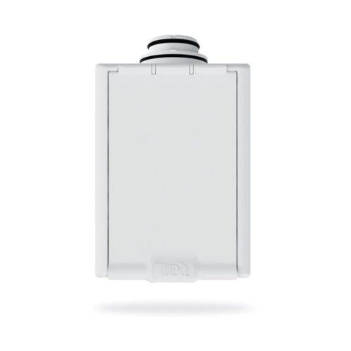 Weiße Saugdose für Schlaucheinzugssystem Pratico. Rechteckige Klappe, mit wählbare Öffnungsrichtung.