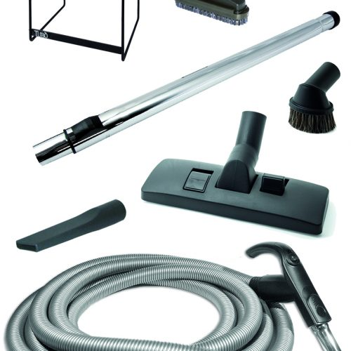 Reinigungsset Tubo Standard mit Handgriff und Schlauchmuffe, höhenverstellbare Teleskopstange aus Chrom, Halterungzur Schlauchaufhängung Kombidüse Teppich, Möbelbürste, Polsterdüse, und Fugendüse