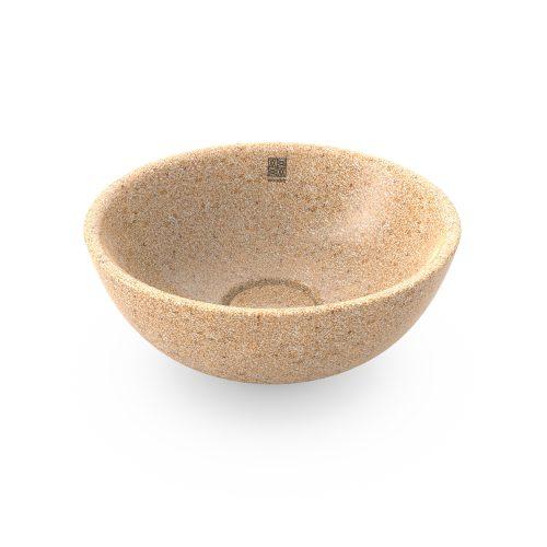 Natural Holzfarbe. Dieses Woodio Soft40 Waschbecken Table Top hat eine sanfte und moderne runde Form und glänzende Oberfläche. Das Material ist Woodios Massivholz-Verbundwerkstoff, das in vielen harmonischen Farbtöne hergestellt wird.