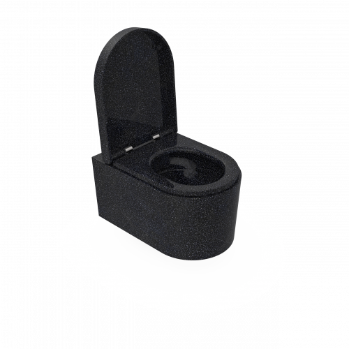 Moderne und funktionale an der Wand hängende Toilette aus Woodios Holzmaterial. Char-schwarz. Auf diesem Foto ist der Toilettensitz geöffnet.