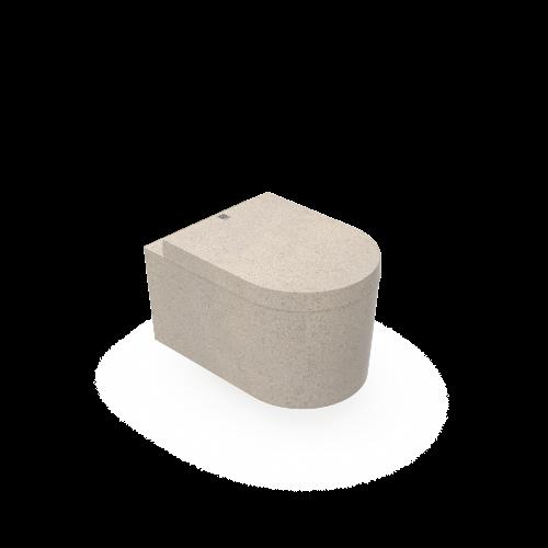 Moderne und funktionale an der Wand hängende Toilette aus Woodios Holzmaterial. Einfach zu kombinieren mit andere Woodio-Produkte wie Waschbecken und Badewanne. Polar-weiß, hölzerne Naturalfarbe oder Char-schwarz.