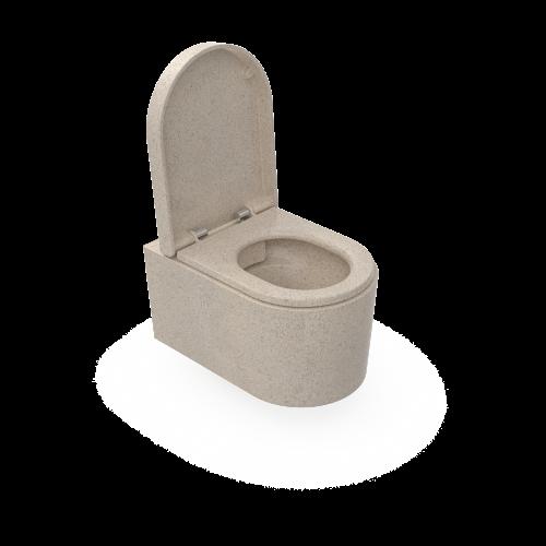 Moderne und funktionale an der Wand hängende Toilette aus Woodios Holzmaterial. Polar-weiß. Auf diesem Foto ist der Toilettensitz geöffnet.