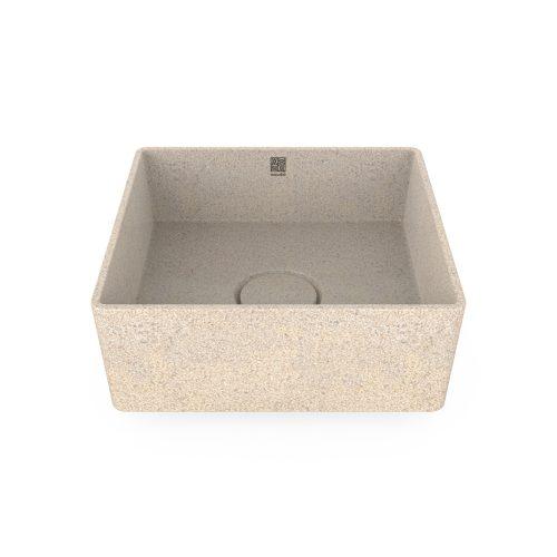 Polar-weiß. Woodio Cube40 Waschbecken Table Top hat ein minimalistisches quadratisches Design, das beide funktional und stilvoll ist. Die Oberfläche ist glänzende. Das Material ist Woodios Massivholz-Verbundwerkstoff, das in vielen harmonischen Farbtöne hergestellt wird.