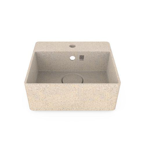 Polar-weiß. Woodio Cube40 Waschbecken mit Wandbefestigung hat ein minimalistisches quadratisches Design, das beide funktional und stilvoll ist. Die Oberfläche ist glänzende. Das Material ist Woodios Massivholz-Verbundwerkstoff, das in vielen harmonischen Farbtöne hergestellt wird.