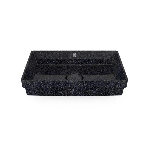 Char-schwarz. Woodio Cube60 Waschbecken Eingelassen hat ein minimalistisches rechteckiges Design, das beide funktional und stilvoll ist. Die Oberfläche ist glänzende. Das Material ist Woodios Massivholz-Verbundwerkstoff, das in vielen harmonischen Farbtöne hergestellt wird.