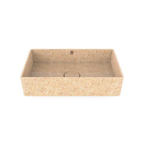 Natural Holzfarbe. Polar-weiß. Woodio Cube60 Waschbecken Table Top hat ein minimalistisches rechteckiges Design, das beide funktional und stilvoll ist. Das Material ist Woodios Massivholz-Verbundwerkstoff, das in vielen harmonischen Farbtöne hergestellt wird.