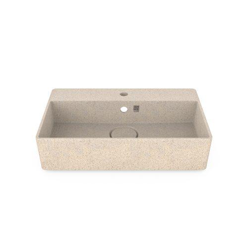 Polar-weiß. Woodio Cube60 Waschbecken mit Wandbefestigung hat ein minimalistisches rechteckiges Design, das beide funktional und stilvoll ist. Die Oberfläche ist glänzende. Das Material ist Woodios Massivholz-Verbundwerkstoff, das in vielen harmonischen Farbtöne hergestellt wird.