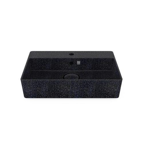 Char-schwarz. Woodio Cube60 Waschbecken mit Wasserhahnloch hat ein minimalistisches rechteckiges Design, das beide funktional und stilvoll ist. Die Oberfläche ist glänzende. Das Material ist Woodios Massivholz-Verbundwerkstoff, das in vielen harmonischen Farbtöne hergestellt wird.