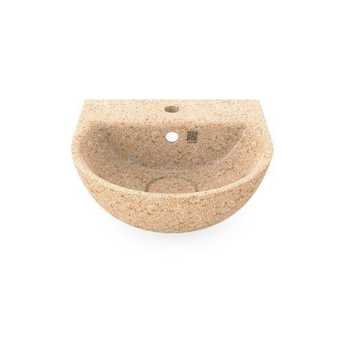 Natural Hozfarbe. Dieses Woodio Soft40 Waschbecken mit Wandbefestigung hat eine sanfte und moderne halbrunde Form mit einer ebenen Seite gegen die Wand. Das Material ist Woodios Massivholz-Verbundwerkstoff, das eine glänzende Oberfläche hat. Est wird in vielen harmonischen Farbtöne hergestellt.