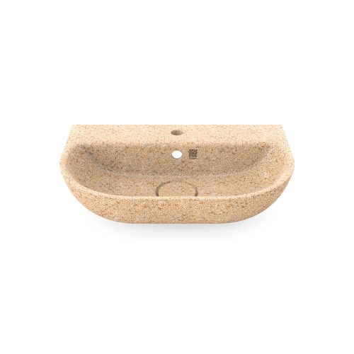 Natural Holzfarbe. Dieses Woodio Soft60 Waschbecken mit Wandbefestigung hat eine sanfte und moderne ovale Form. Das Material ist Woodios Massivholz-Verbundwerkstoff, das in vielen harmonischen Farbtöne hergestellt wird.