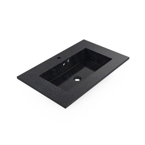Char-schwarz. Woodio Unit80 Integrated Waschbecken hat eine minimalistische und moderne rechteckige Form, mit einigen Centimetern mehr ebener Platz auf den Seiten. Es ist aus finnischem Holz und Harz produziert. Das Material hat eine glänzende Oberfläche.