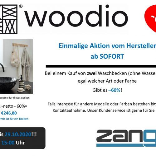 Ein kleines Bild auf ein schwarzes Woodio Soft40 Waschbecken in einem weißen, sonnigen Zimmer. Logos von Zanger und Woodio. Einmalige Aktion vom Hersteller ab SOFORT -60% bei einem Kauf von zwei Waschbecken ohne Wasserhahn.
