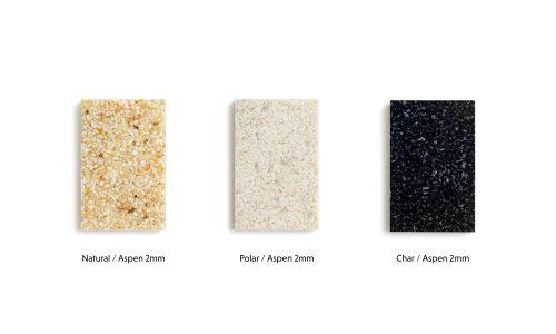 Beispielfarbe von Woodio auf einem weißen Hintergrund. Natural Holzfarbe aus finnischer Espe, Polar-weiß, Char-schwarz.